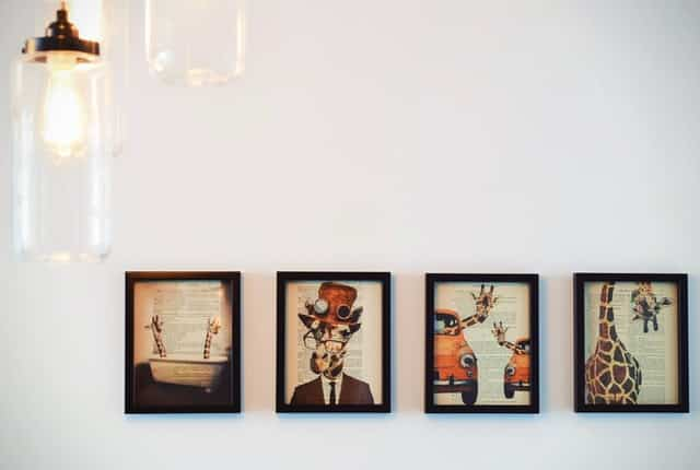 photos with collage frames on the wall